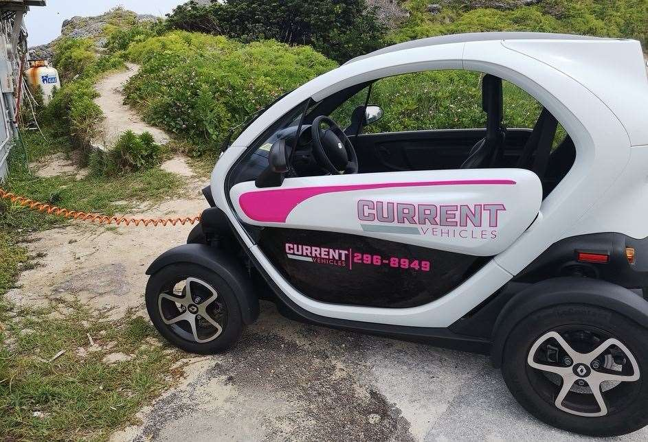 My wife and squeezed into the Twizy, to explore the island. Picture: Keith Hunt
