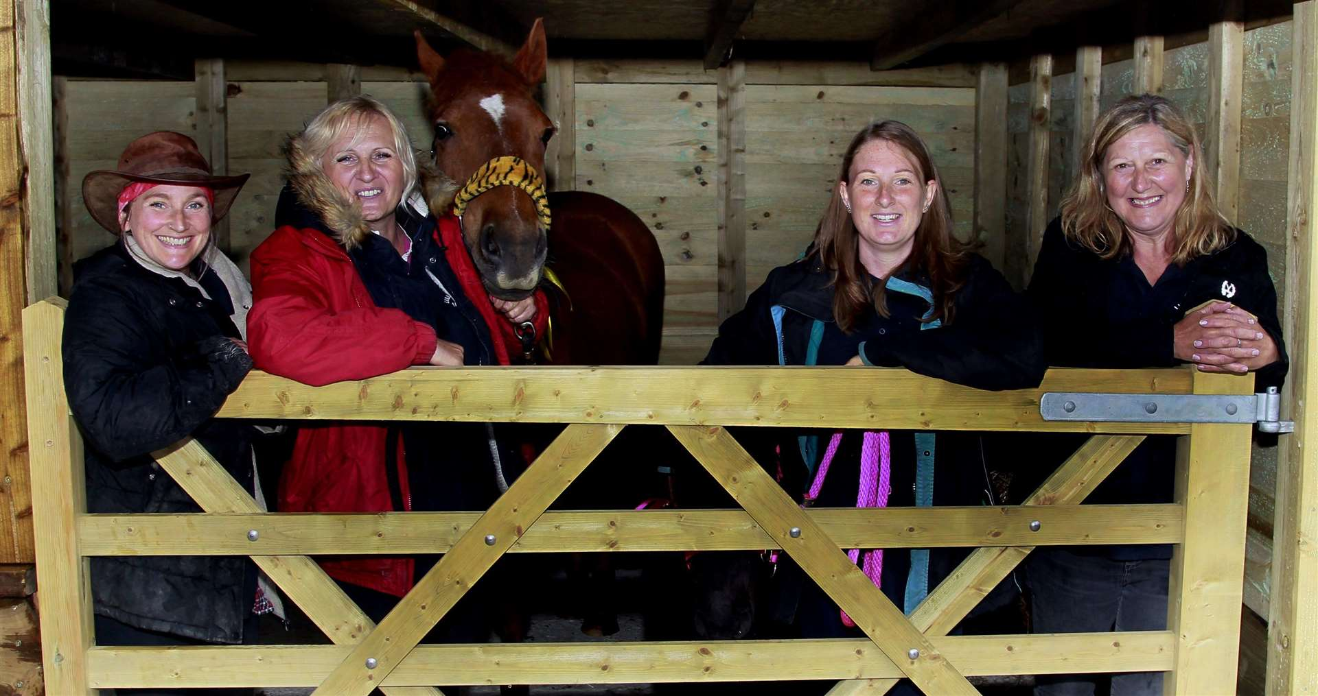 Katie Bell, Julie Jones, Sprat and LuLu, Emily Rollinson and Dee Thrussell at Five Acre Wood School's new stable. Picture: Sean Aidan (11918576)