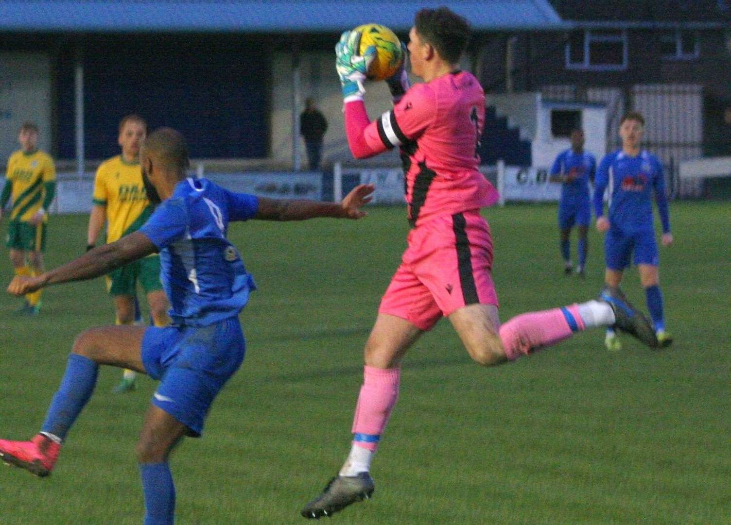 Sam Mott collects the ball against Herne Bay