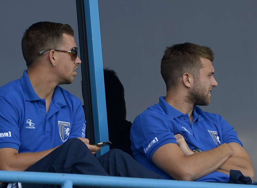 Injured pair Cody McDonald and Doug Loft watch from the stands last Saturday Picture: Barry Goodwin