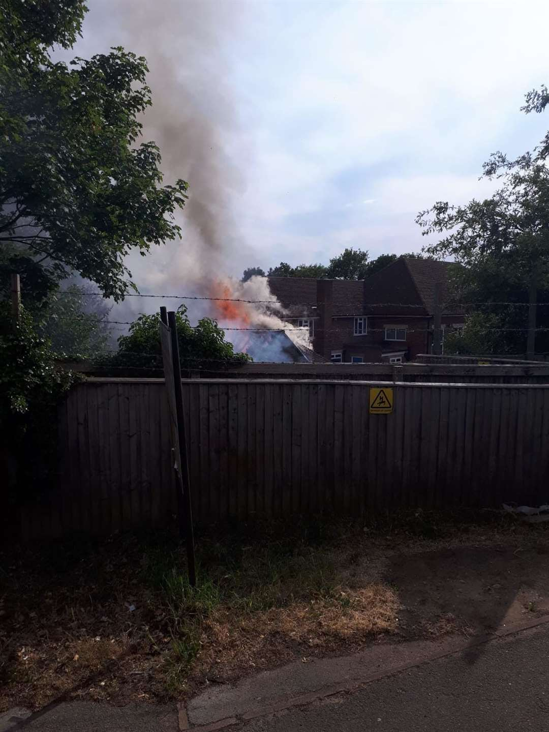 It's thought the fire started in an outhouse behind North Borough Junior School. Picture: Paul McPolin
