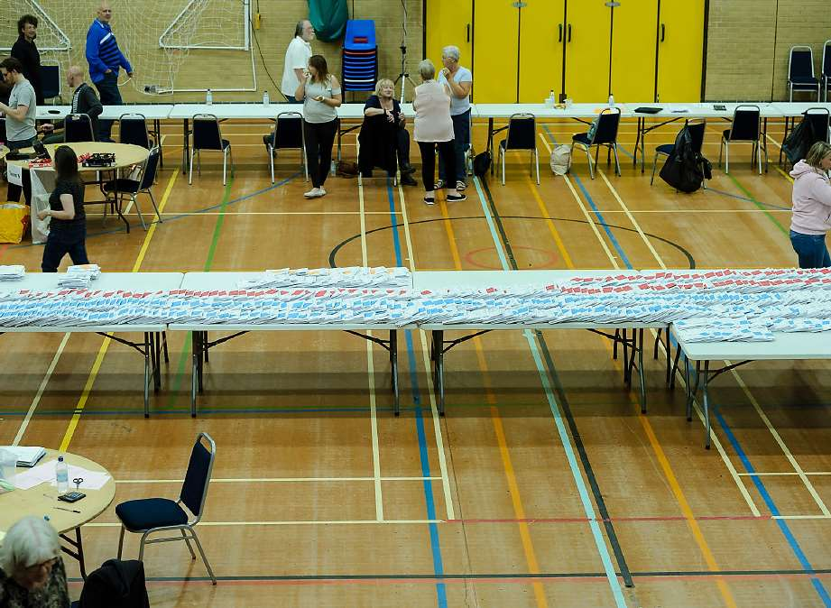 The ballot papers being laid out before the declaration. Picture: Andy Payton.