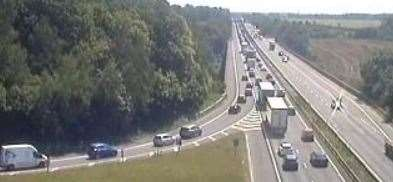 Drivers faced huge queues on the M2 today. Picture: Traffic England