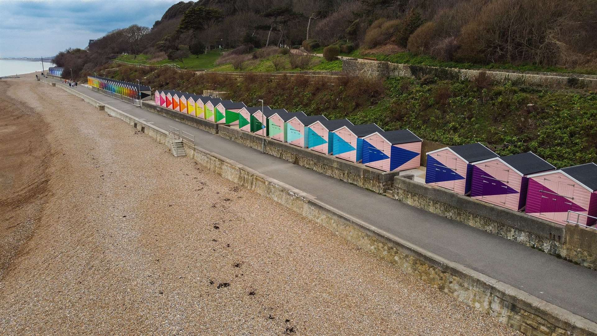 Folkestone's beach huts, by Rana Begum and commissioned for Creative Folkestone Triennial 2021 in partnership with Folkestone and Hythe District Council. Photo by Tom Bishop