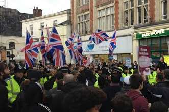 Britain First tried to make their way up the High Street but were stopped by anti-fascists