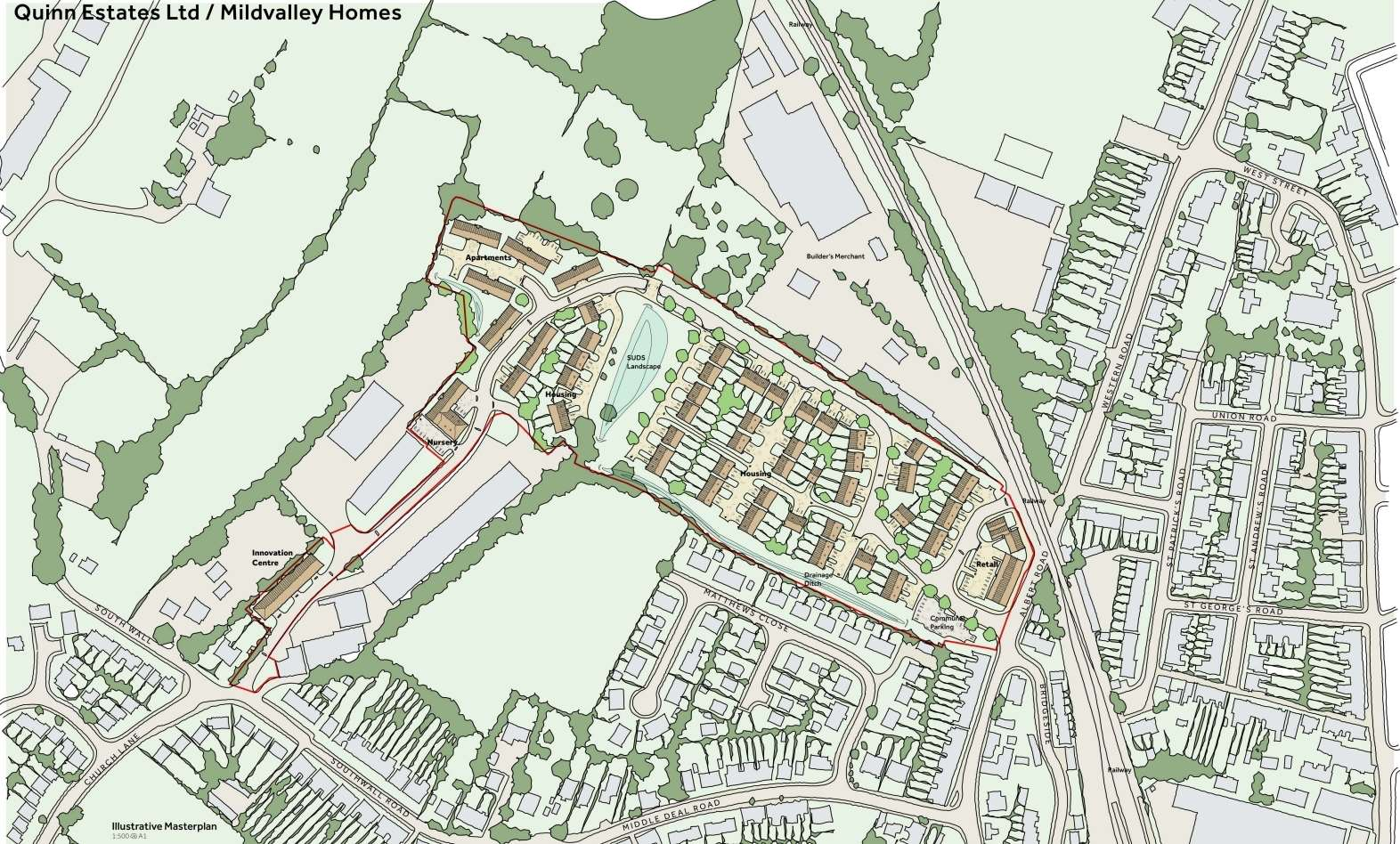 Quinn Estates is proposing to build 142 houses, a nursery, an innovation centre, a small shop and a link road between Albert Road and Southwall Road
