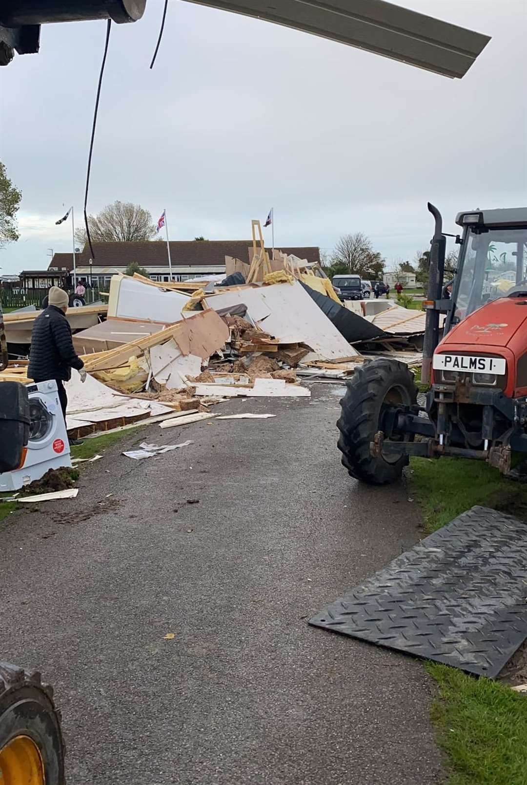 Work begins to clean up damage caused by high winds at the Palm Tree Holiday Park in Eastchurch. Picture courtesy Palm Tree Holiday Park on Facebook.