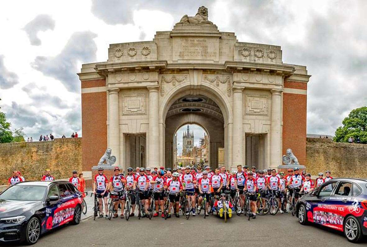 Cyclists at Menin Gate. Picture: Dave Hayward (14656413)