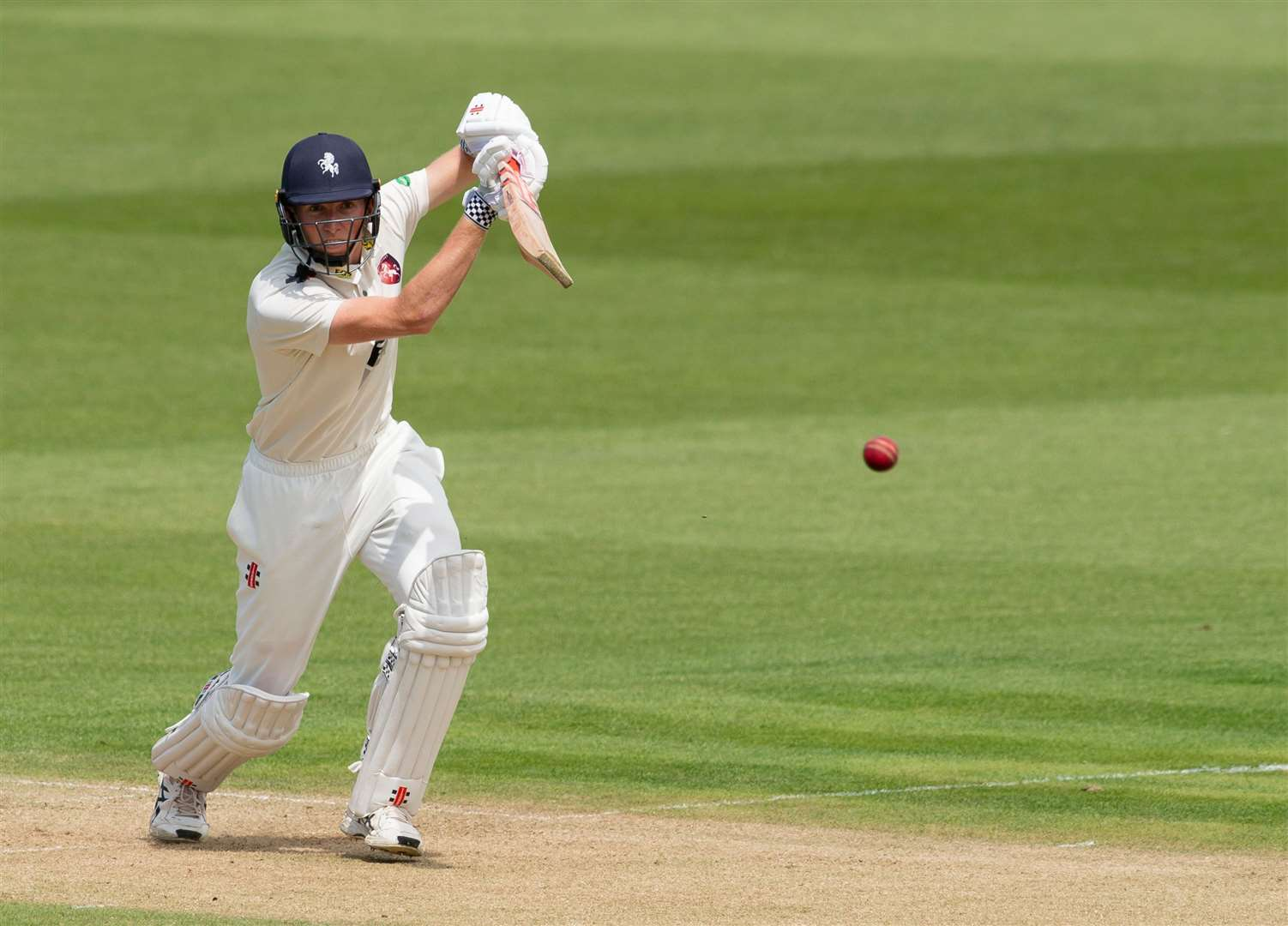 Zak Crawley drives through wide mid-off against Warwickshire. Picture: Ady Kerry