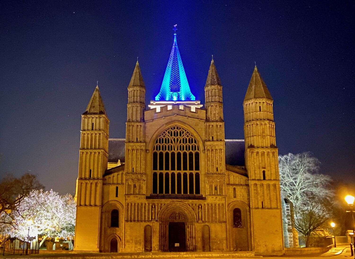 Rochester Cathedral has been lighting its spire each evening since March 17 Picture: Rochester Cathedral