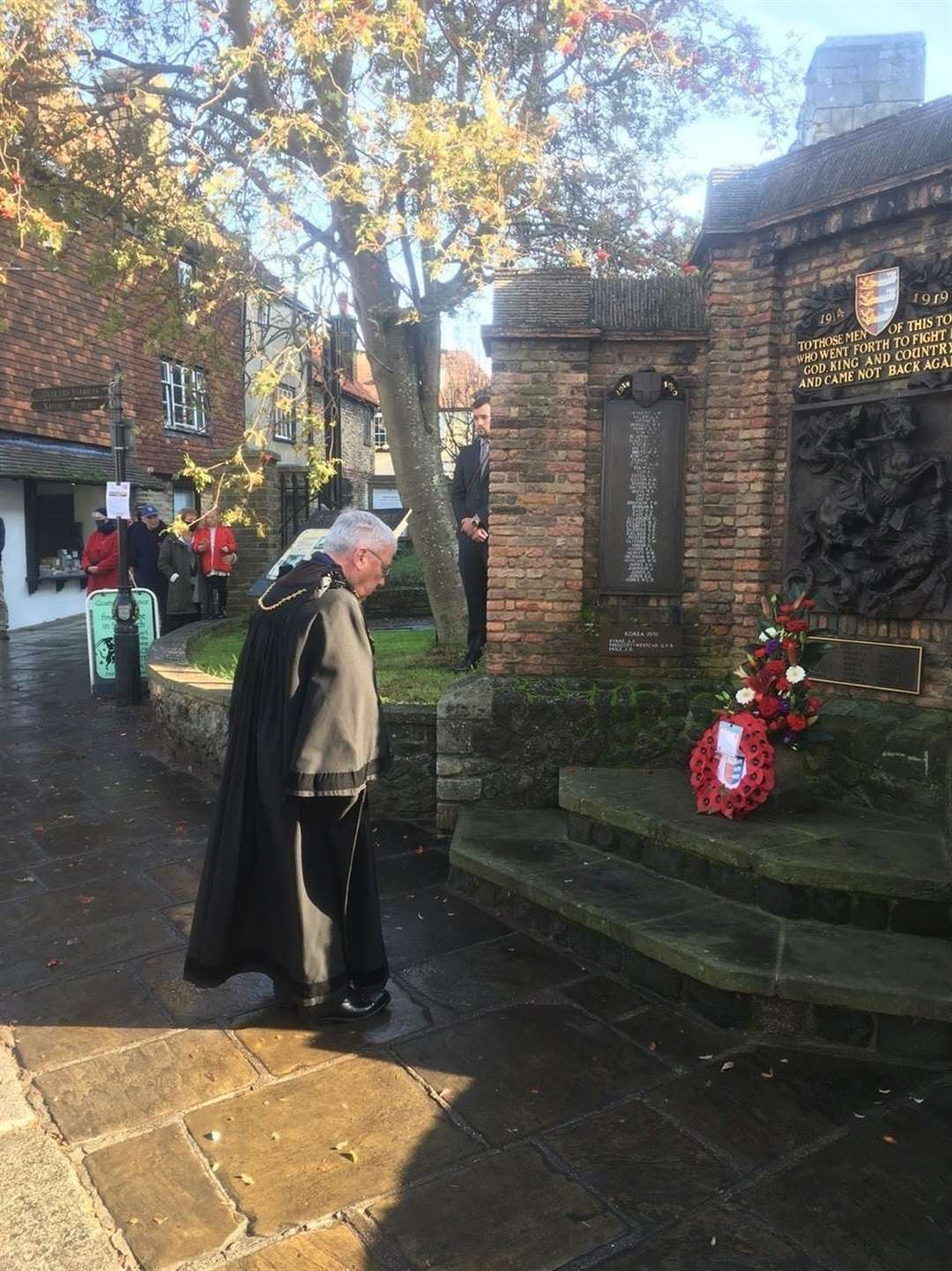 The Mayor of Sandwich Cllr Paul Graeme laid a wreath on behalf of the town