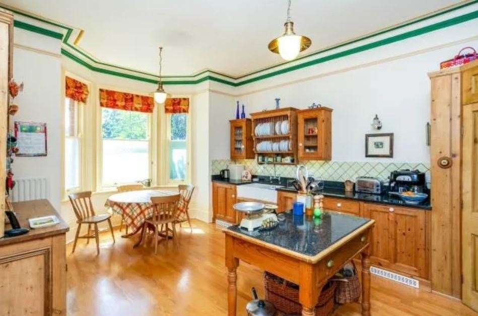 A look at the kitchen inside the four-storey property. Picture: Zoopla / Freeman Forman