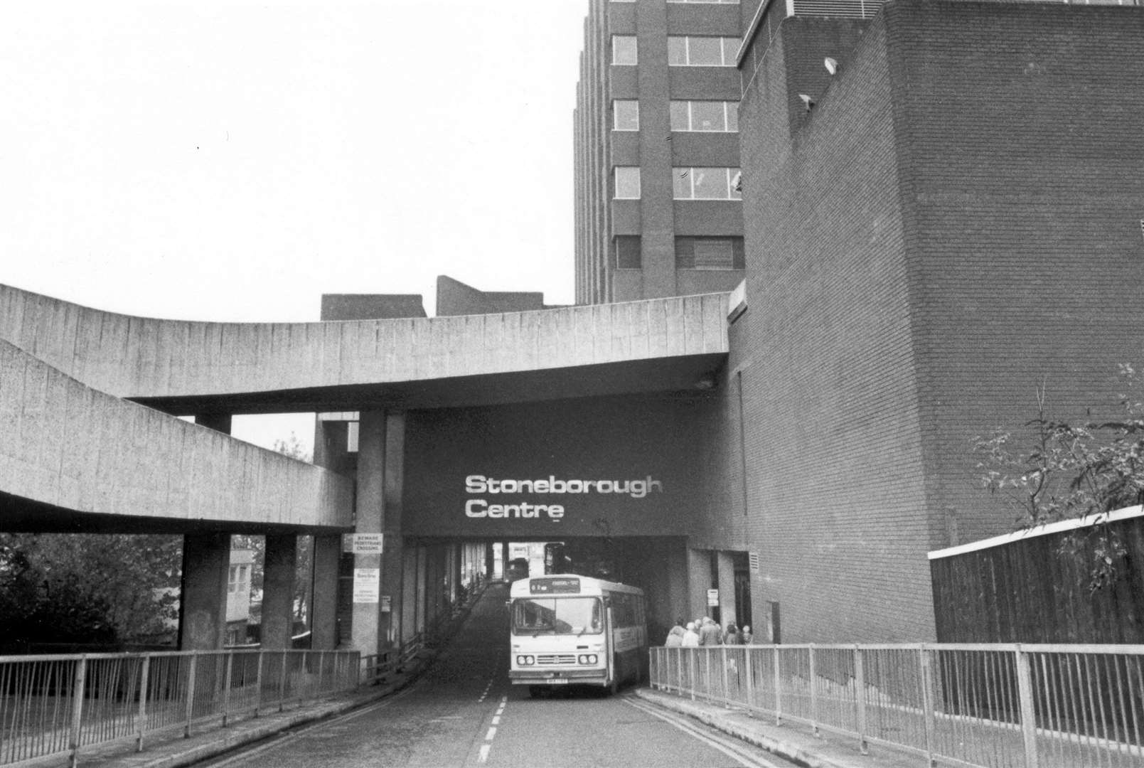 A bus leaves The Stoneborough Centre in 1988
