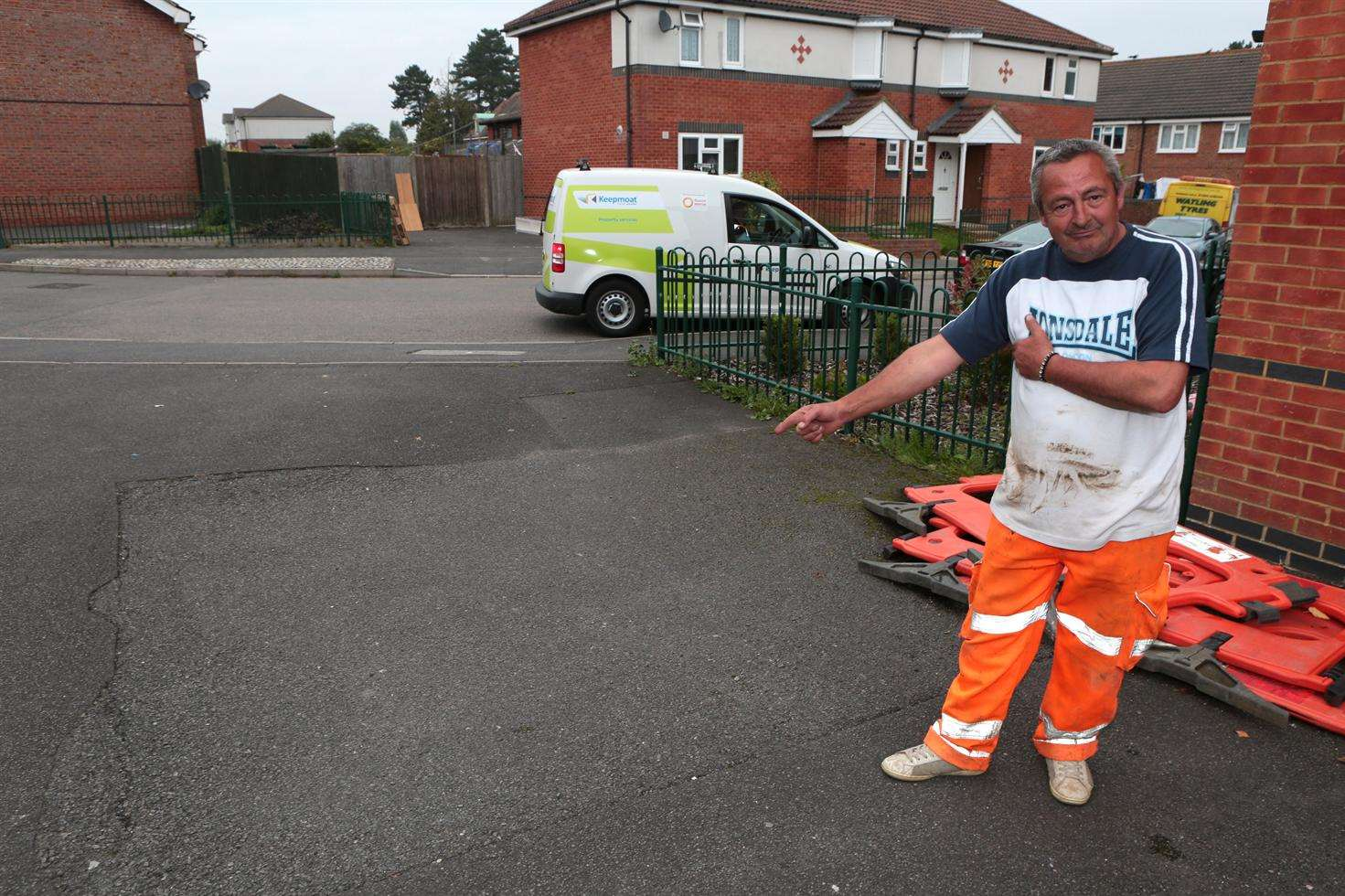 Lee Thwaite is a resident affected by the sinkhole in Springwood Road, Barming