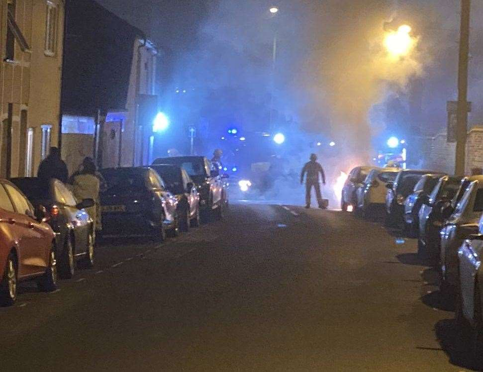 A car was torched in Vicarage Road, Gillingham