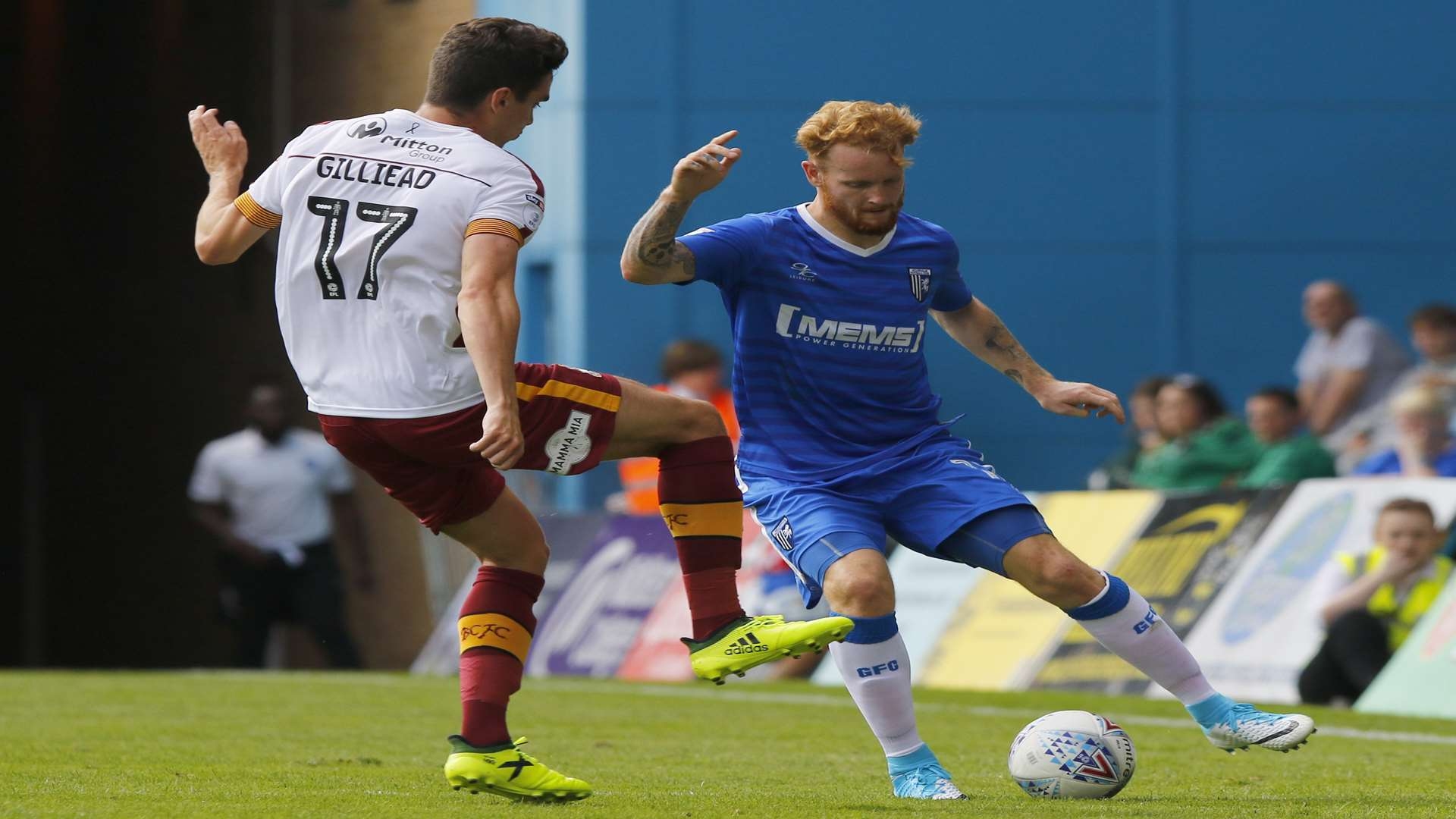 Gillingham's Connor Ogilvie on the ball. Picture: Andy Jones