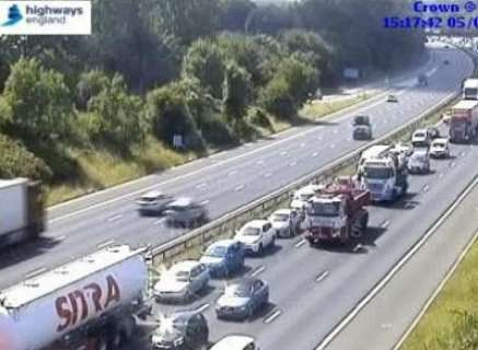 Traffic is being held after a multi-vehicle accident. Picture: Highways England