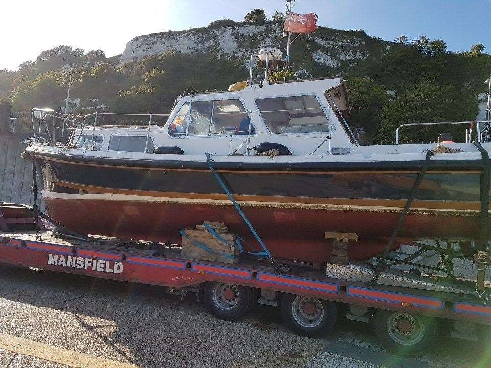 The National Crime Agency has seized this boat in connection to people smuggling (16561401)