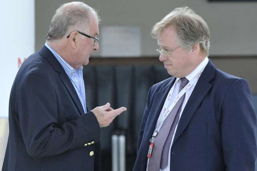 Charles Buchanan speaks to MP Sir Roger Gale on the day Manston airport closed in May