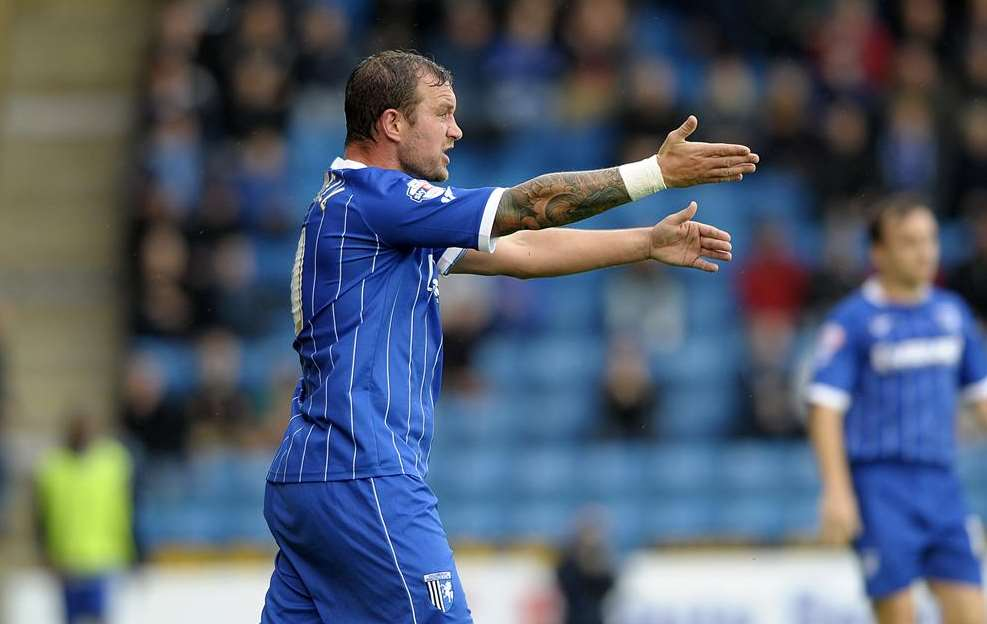 Danny Kedwell makes his point on Saturday Picture: Barry Goodwin