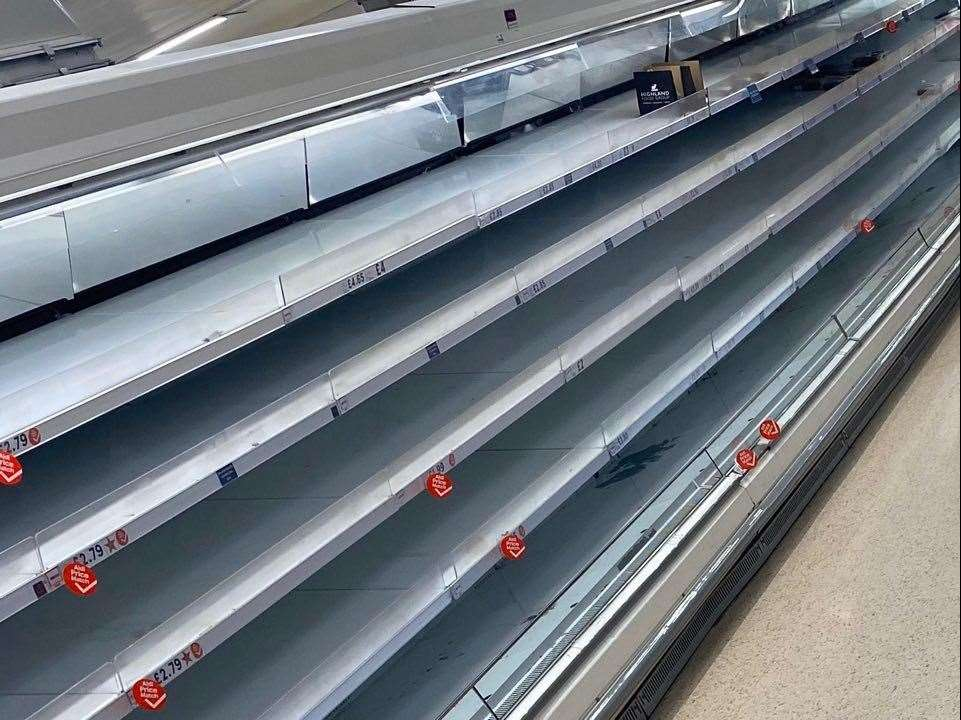 Shelves at Tesco last night after staff couldn't restock the shelves