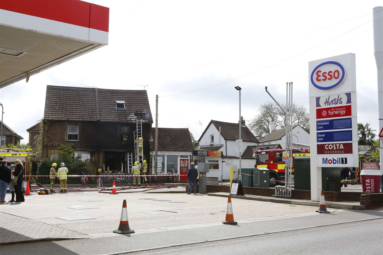 The fire erupted just metres from a petrol station