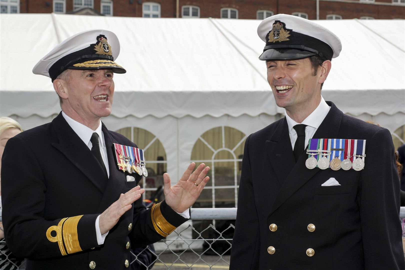Rear Admiral Jim Higham and Commanding Officer of HMS Medway Lieutenant Commander Ben Power RN. Picture: Royal Navy.(16377395)