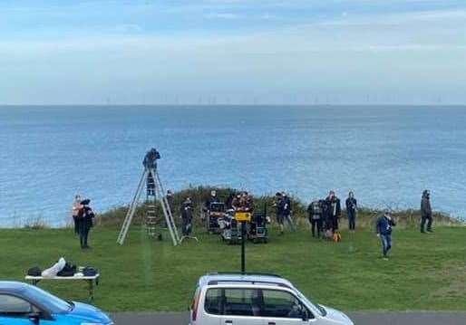 Crews in Tankerton filming a TV series based on Julie Wassmer's books. Picture: Katie Blake