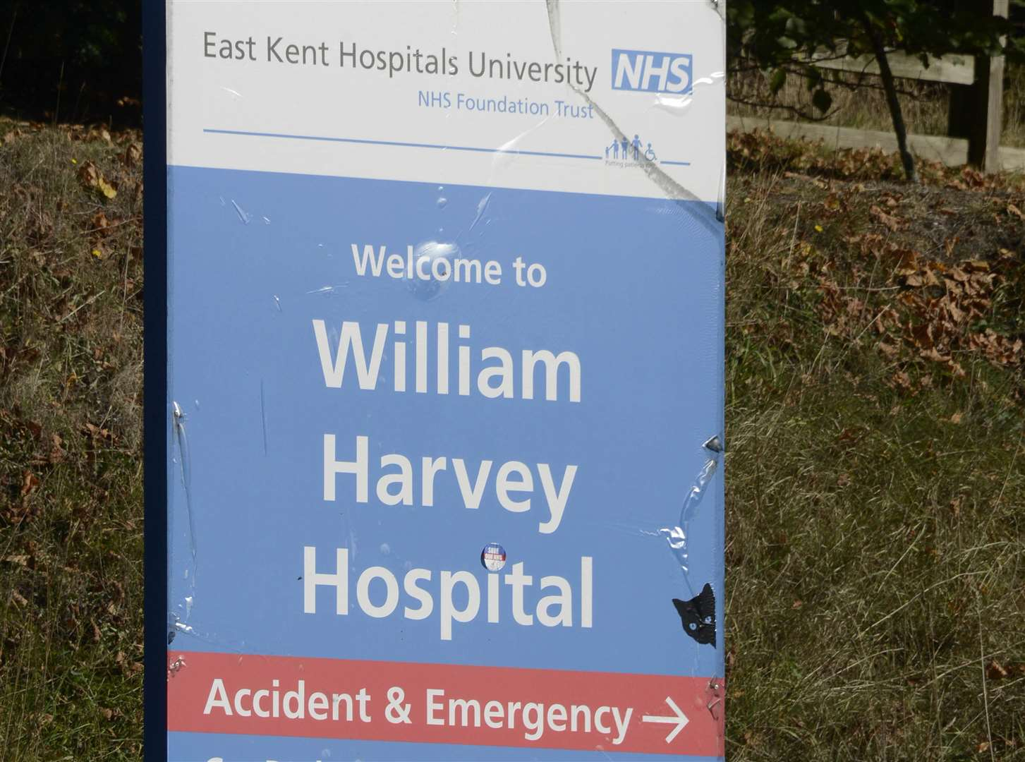 A black cat on a sign at the William Harvey Hospital in Ashford