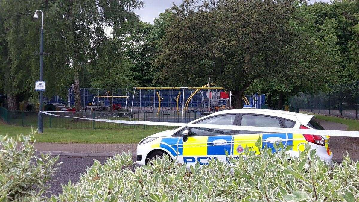 A witness described an area behind a police cordon as a 'ghost town'