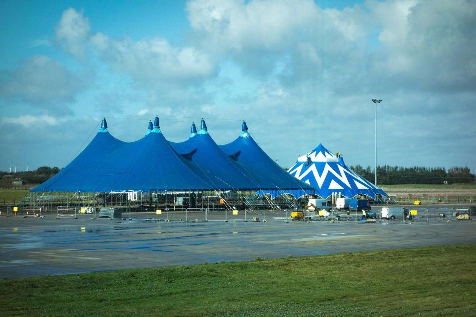 Two tents are already up at the airport
