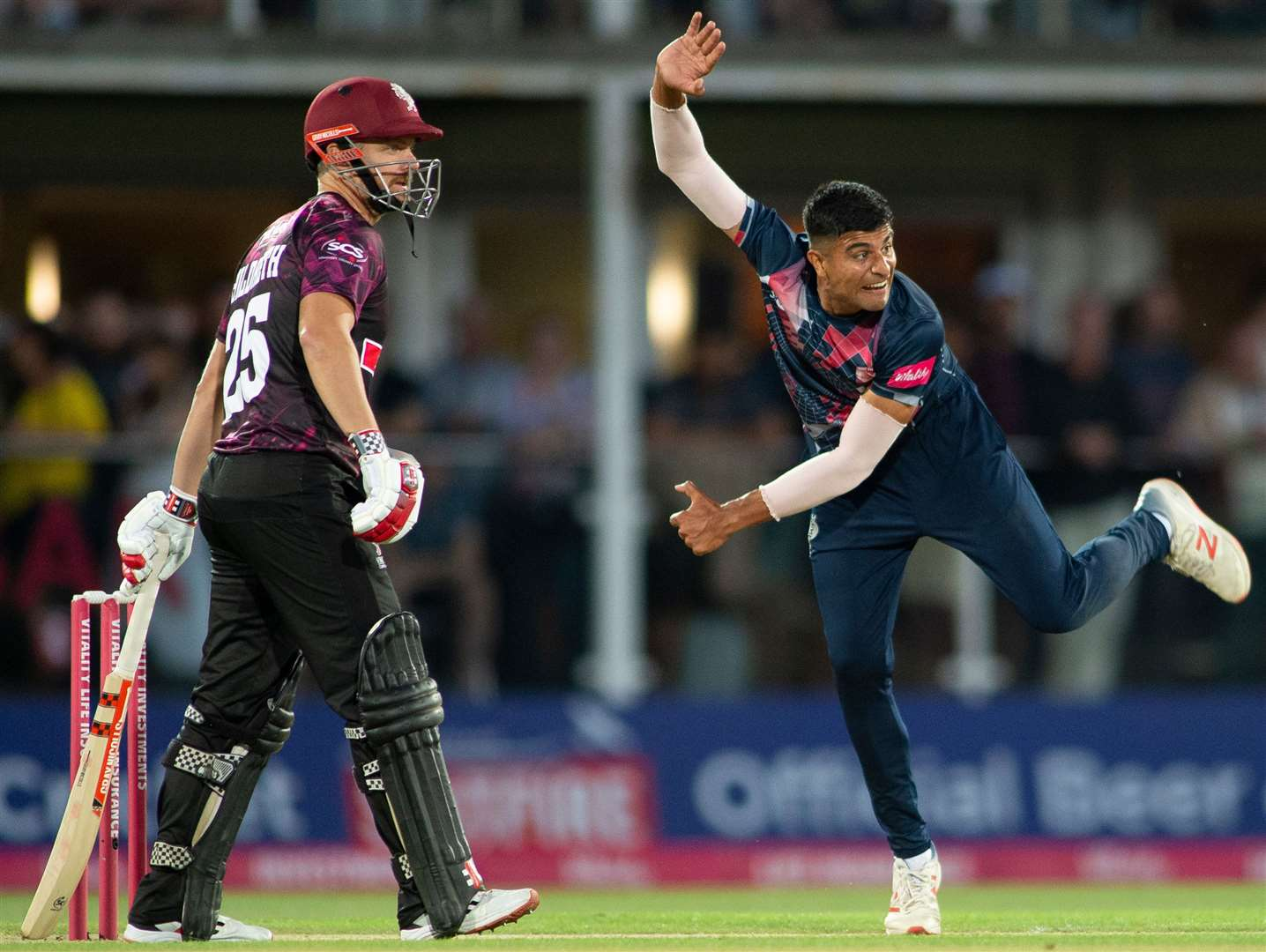 Kent's Imran Qayyum took figures of 5-21 against Somerset. Picture: Ady Kerry