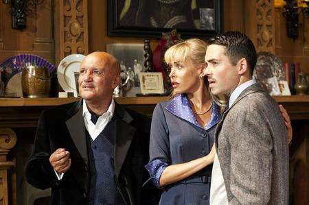 Karl Howman as Mr Paravacini, Jemma Walker as Mollie Ralston and Bruno Langley Giles Ralston in the UK tour of The Mousetrap. Picture Helen Maybanks.
