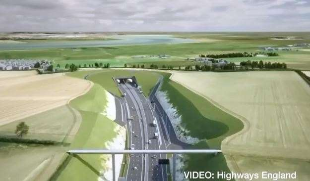 An artist's impression of what the Lower Thames Crossing will look like