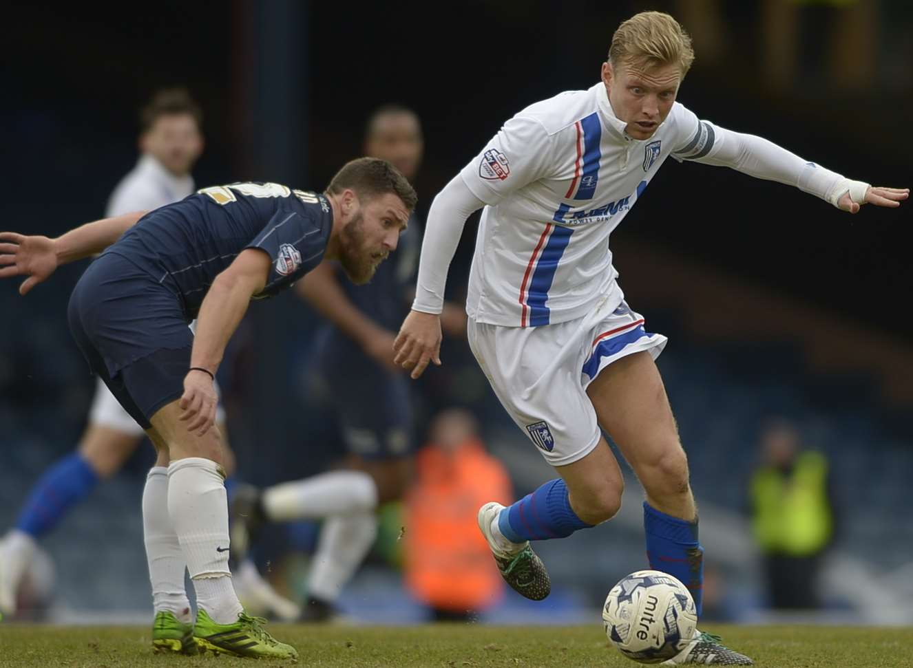 Gills captain Josh Wright in action against Southend.Picture: Barry Goodwin