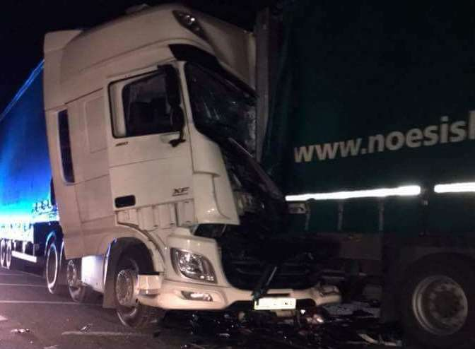 The crumpled cab of the lorry which ploughed into parked vehicles in Swale Way, Great Easthall, Sittingbourne