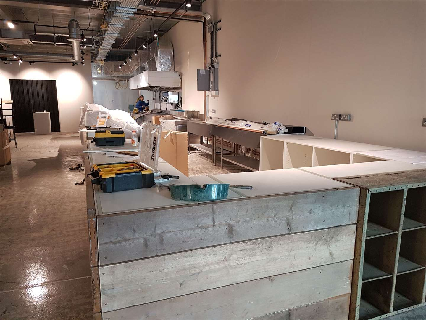 A top-of-the-range Italian coffee machine will be placed here alongside a salad bar