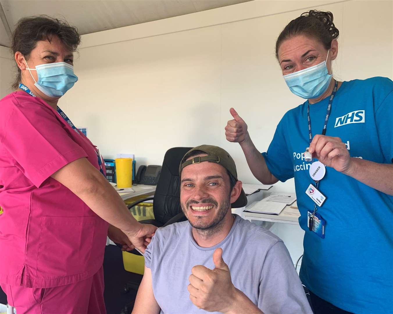 Phil Myers was the 1,000th person to receive a Covid vaccine at the Sandwich Open pop-up vaccination center on Sunday