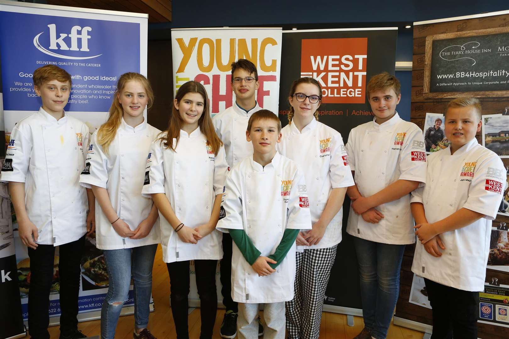 The Produced in Kent Live Cook-off finalists: Cameron Jones, Elizabeth Glasson, Rebecca Louden, Zavie Goutorbe, Thomas Hunt, Charlotte Fife, Hamish McLay and Jem Major