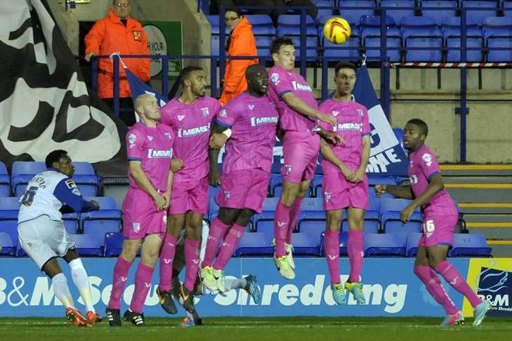 Gillingham put up a defensive wall to protect their goal