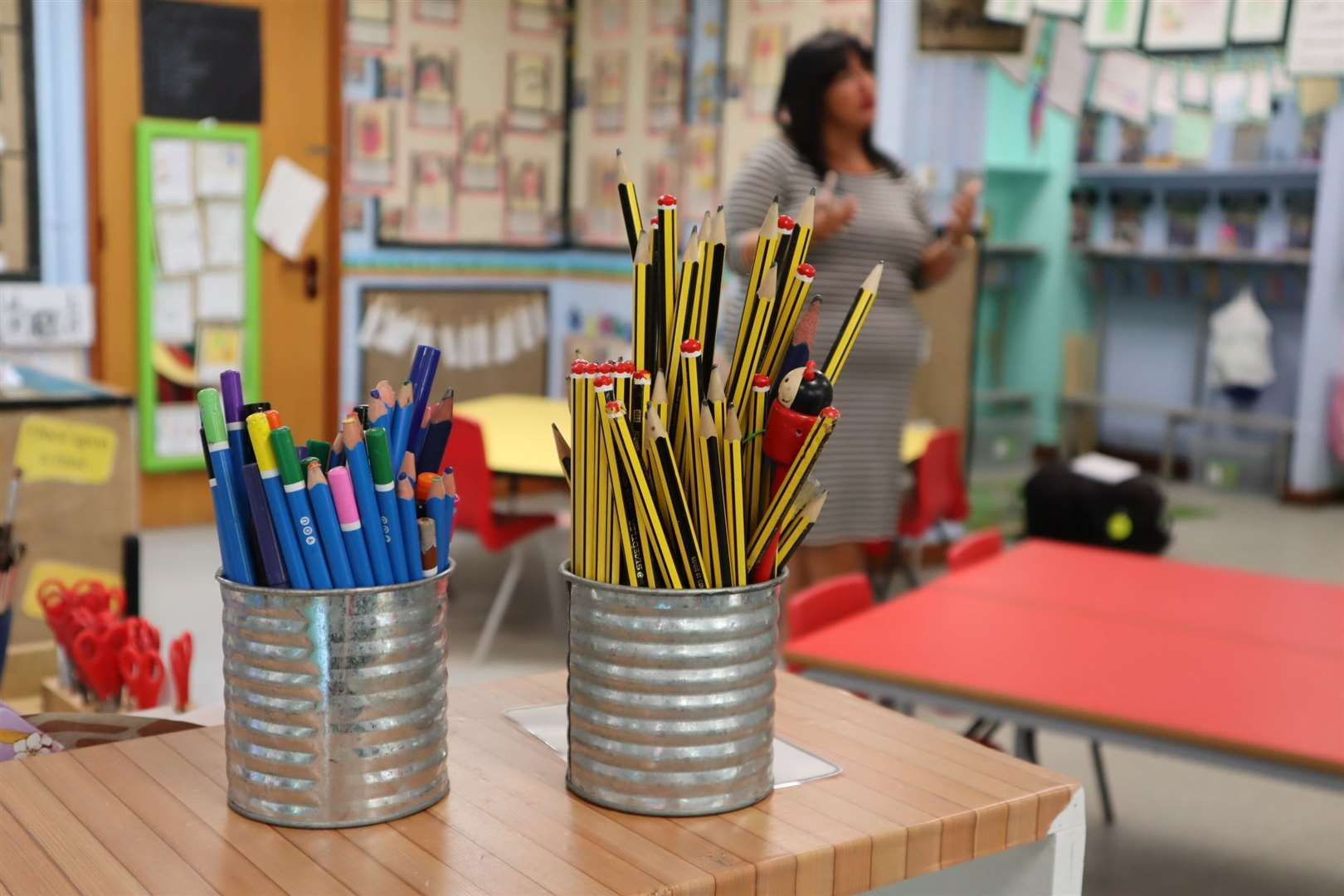 Tins of pencils are outlawed in the new lockdown primary classroom