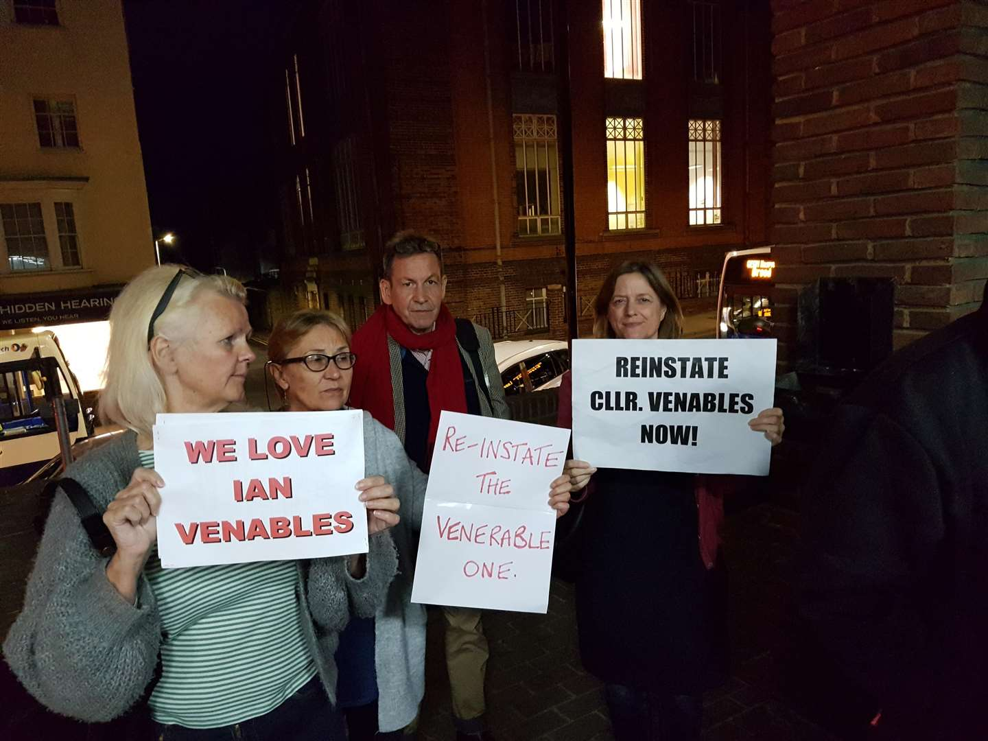 Protestors at Thanet District Council last night