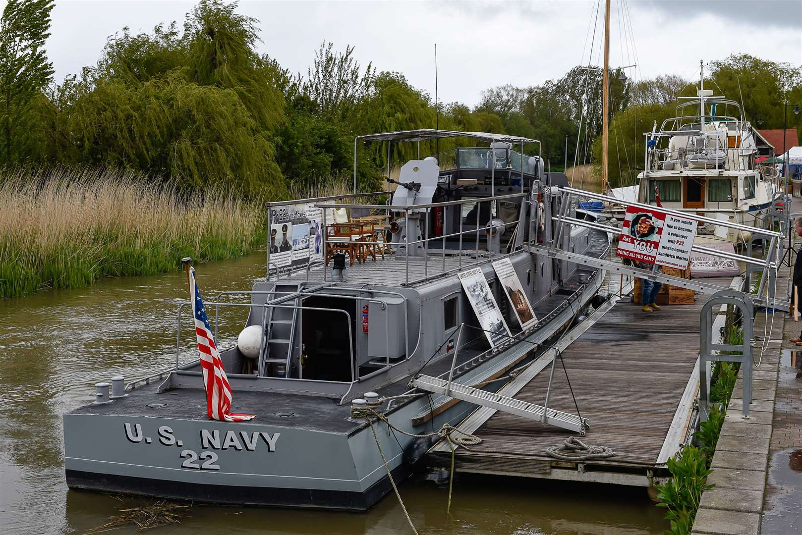 The P22 Gunboat on Sandwich Quay was used by the US Navy