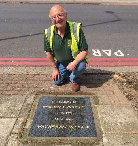 Gordon Newton and the memorial stone