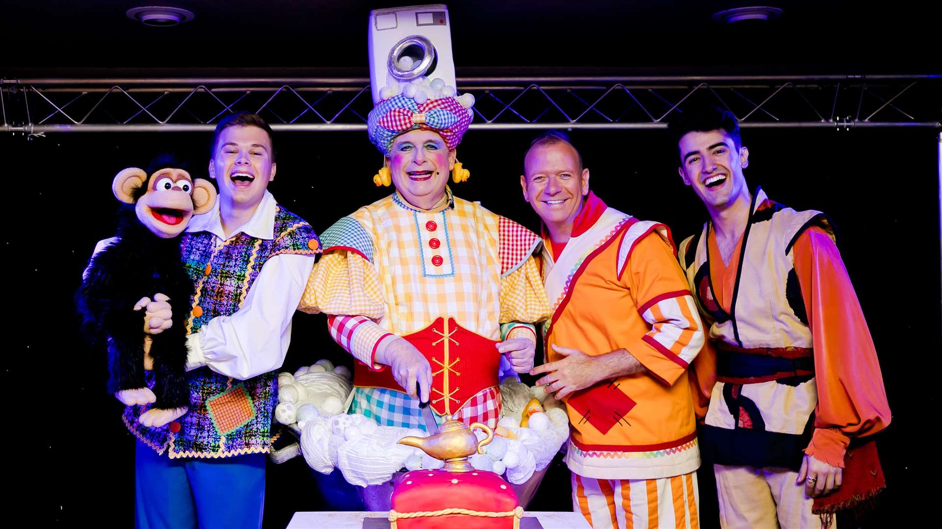 Christopher Biggins (second left) will star in Aladdin at the Churchill Theatre Picture: Kate Darkins