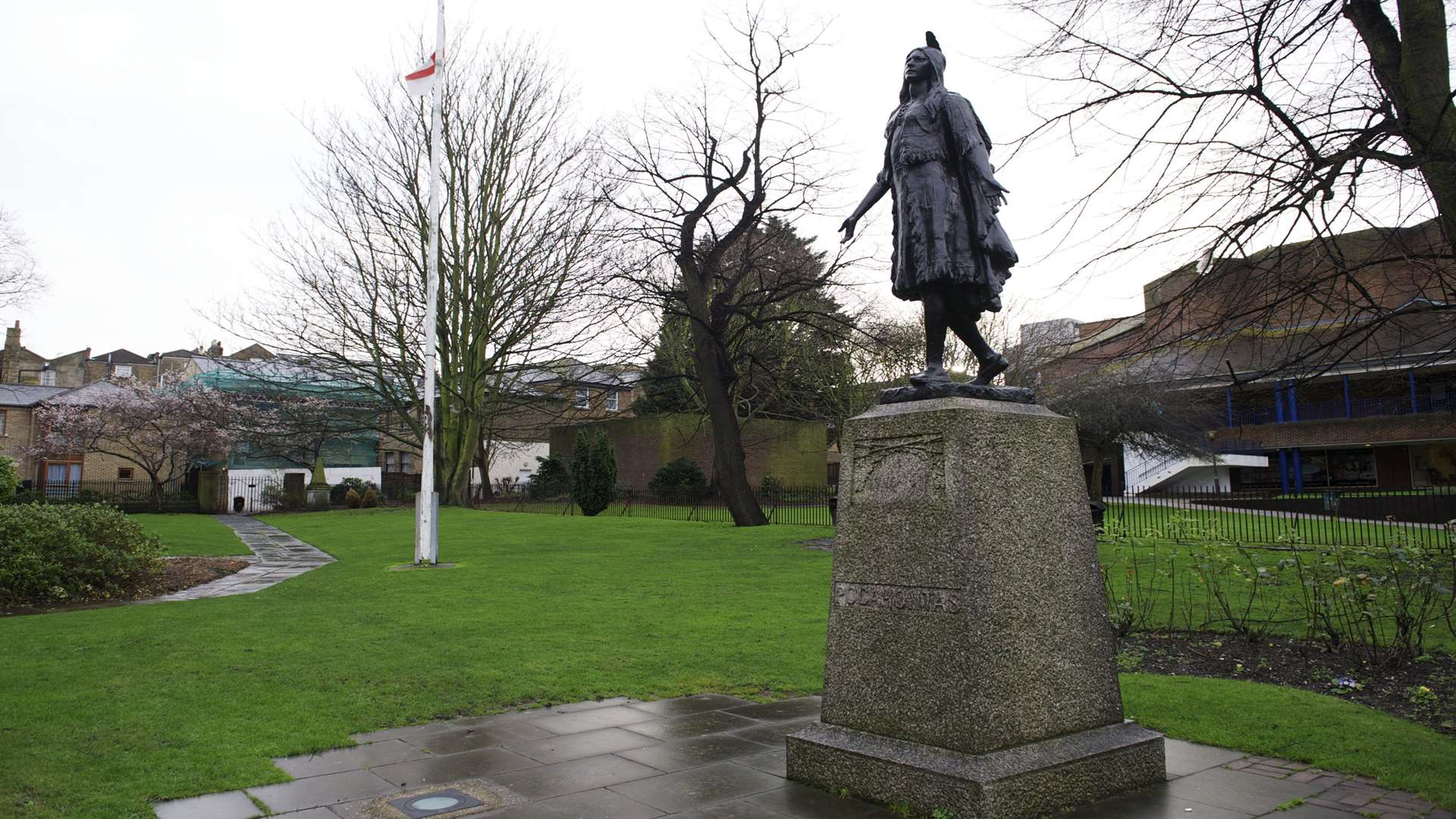 The statue of Native American princess, Pocahontas, in the grounds of St George's Church, Gravesend