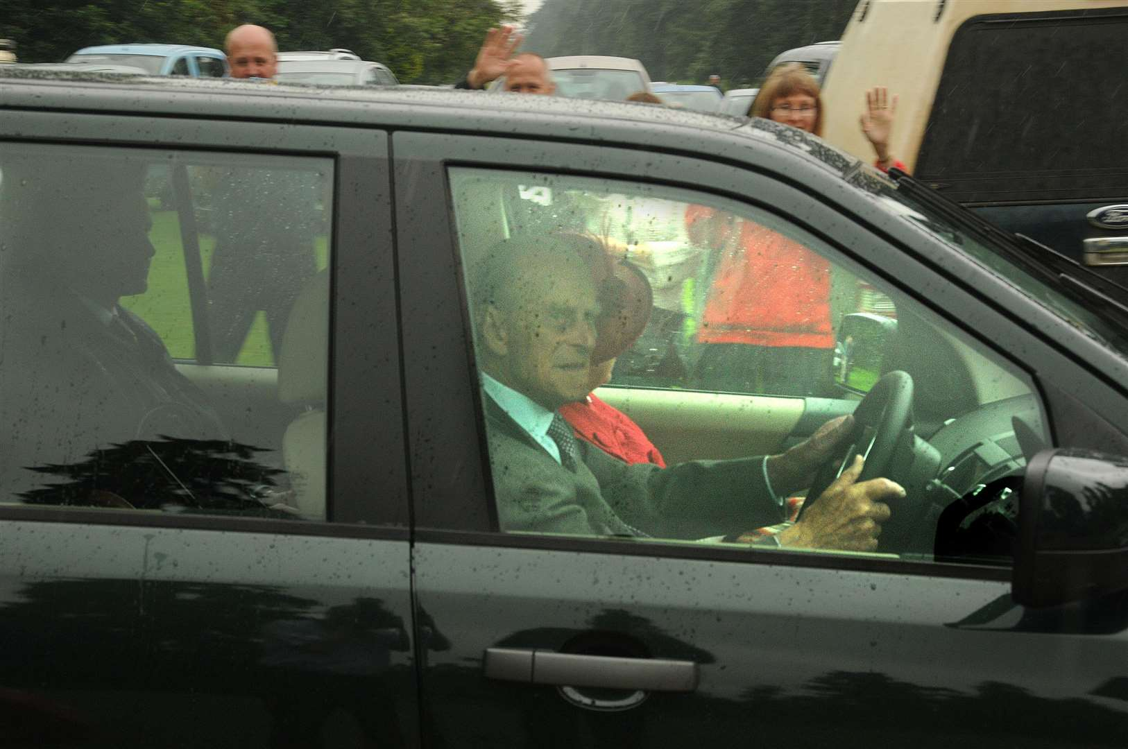 The Duke of Edinburgh at the wheel of his car on a previous occasion
