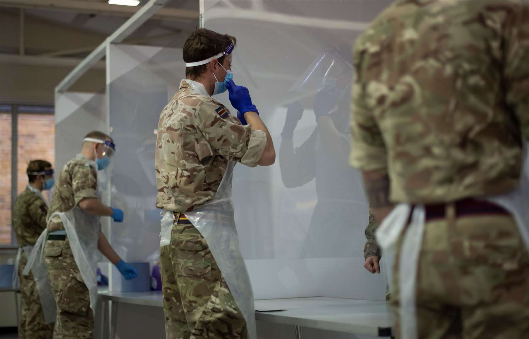 Soldiers at the Medway testing centre