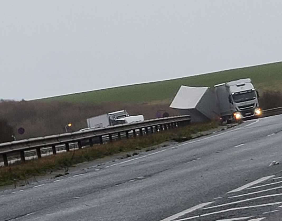 The overturned lorry. Picture by Bruce Lambert