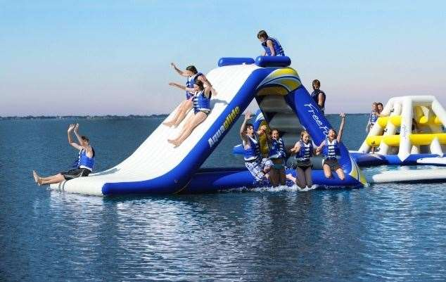 St Andrews Aqua Park will open at the St Andrews Lakes in Halling, near Rochester. Picture: Aquaglide Aquaparks
